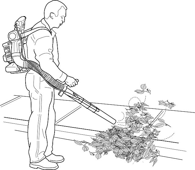 a graphic illustration of a man using a leaf blower